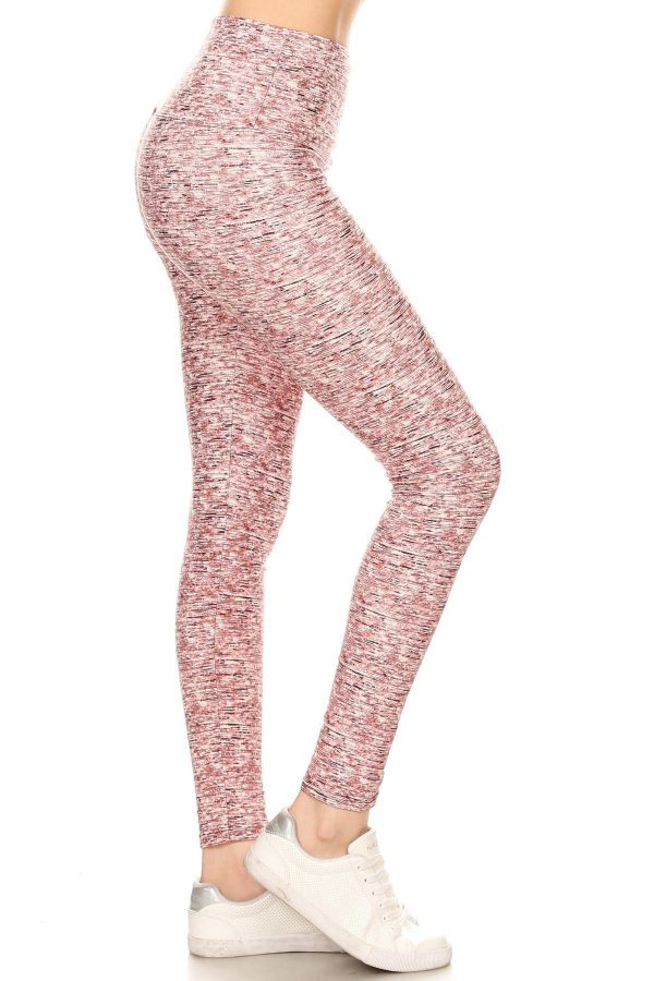 Yoga Band Banded Lined Multi Color Print Leggings 1