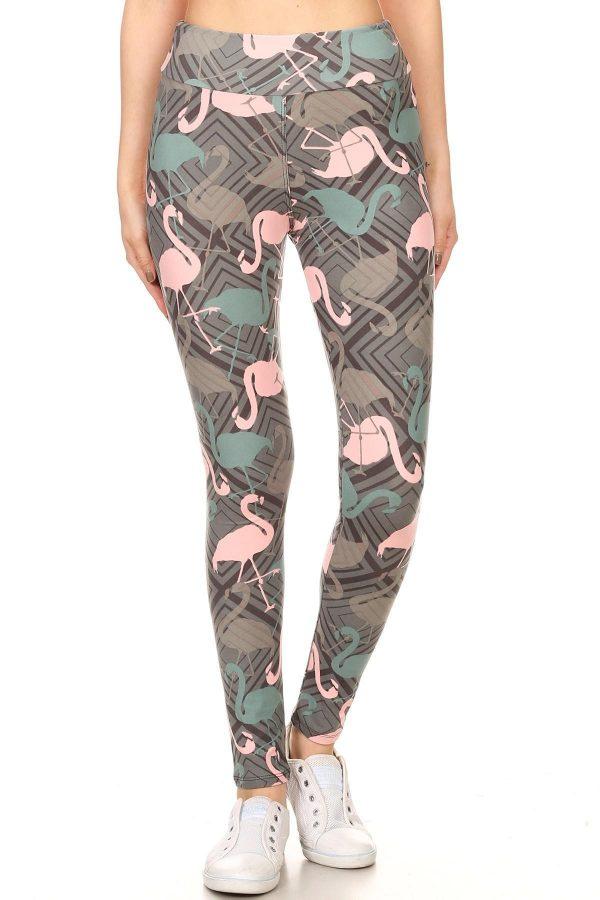 Yoga Band Flamingos Print Leggings 2