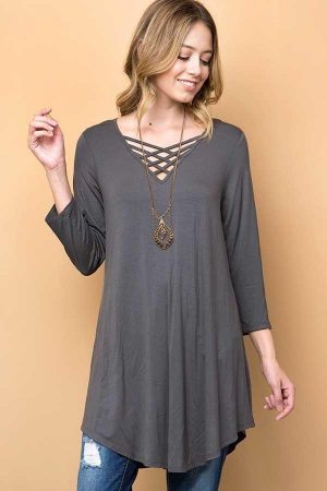 Charcoal Solid Strappy V-Neck Tunic Top 7