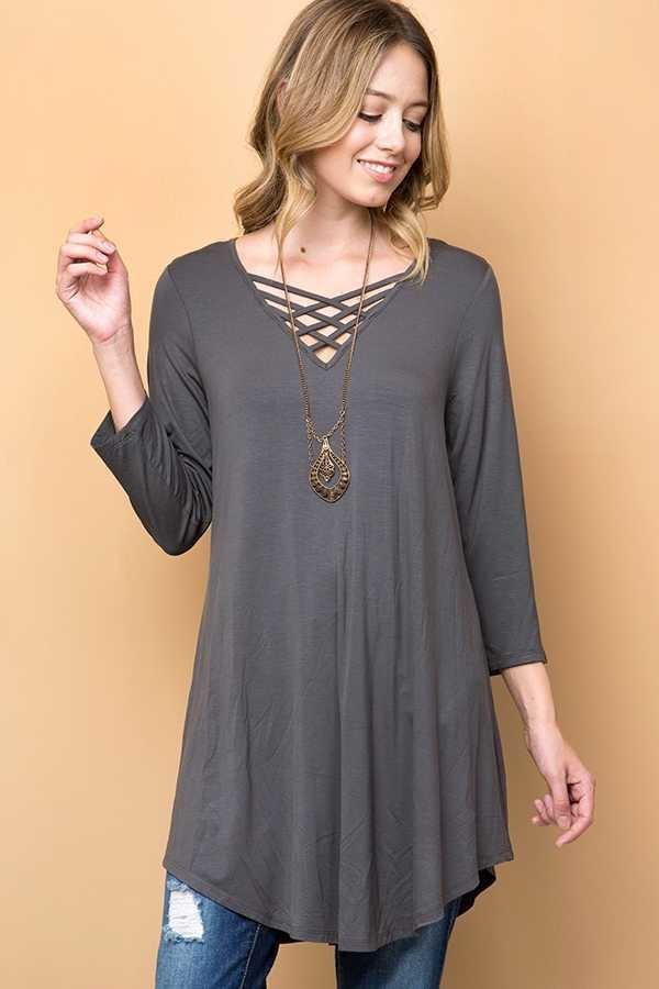 Charcoal Solid Strappy V-Neck Tunic Top 1