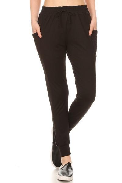 Solid Black Joggers Sweatpants 1