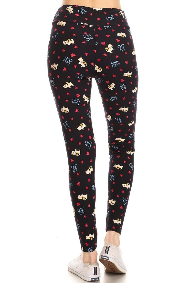 Yoga Band Love Cats Graphic Print Leggings 3
