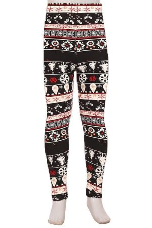 Fair Isle Print Kids Leggings 2