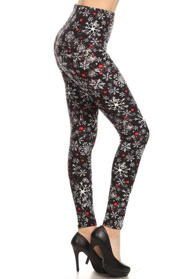 Yoga Band Snowflakes Print Leggings 1