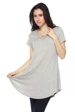 Solid Grey Modal Lattice Cut Out V-Neck Tunic Top 3