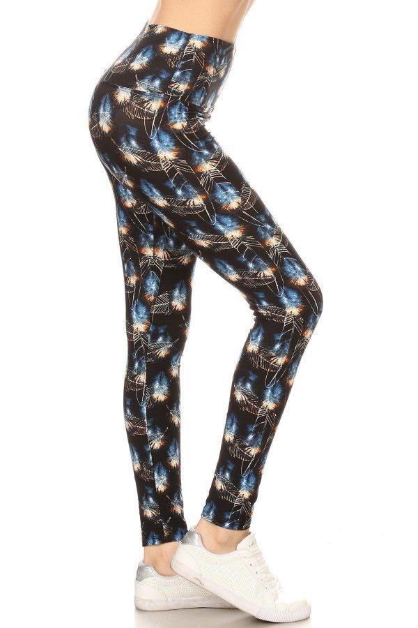 Yoga Band Leaf Printed Leggings 1