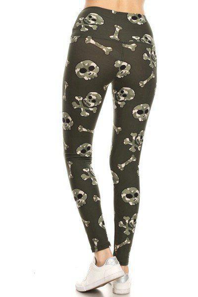Yoga Band Camo Printed Skulls and Crossbones Print Leggings 3