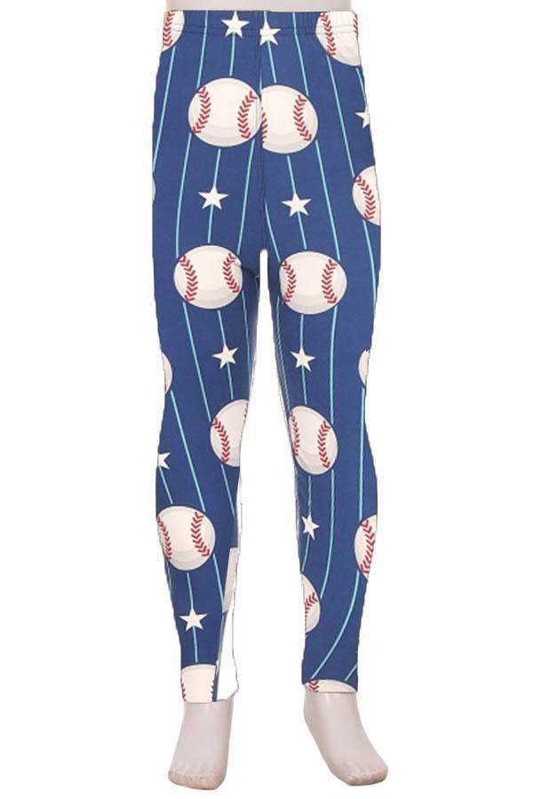 Baseball Print Kids Leggings 1