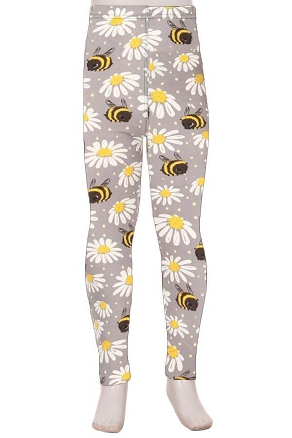 Floral and Bee Print Kids Leggings 1