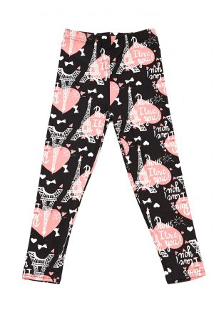 I Love You Paris Print Kids Leggings 3
