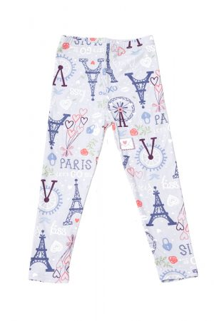 Love Paris Print Brushed Kids Leggings 4