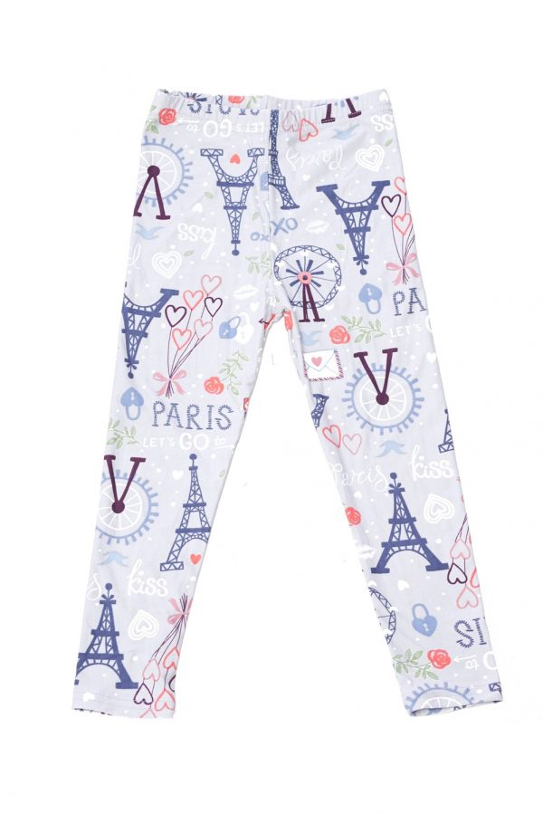 Love Paris Print Brushed Kids Leggings 1