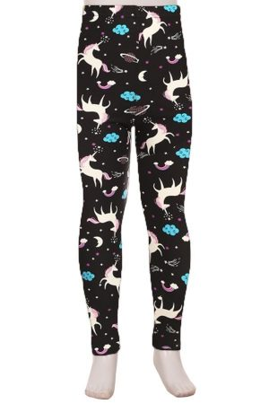 Multi Color Unicorn Print Kids Leggings 3