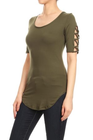 Olive Green Short Sleeve Blouse With a Scooped Hemline and Caged Crisscross 4