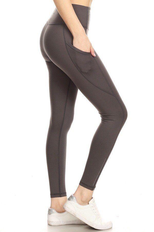 Premium Yoga Activewear Charcoal Leggings - Side Pockets 1