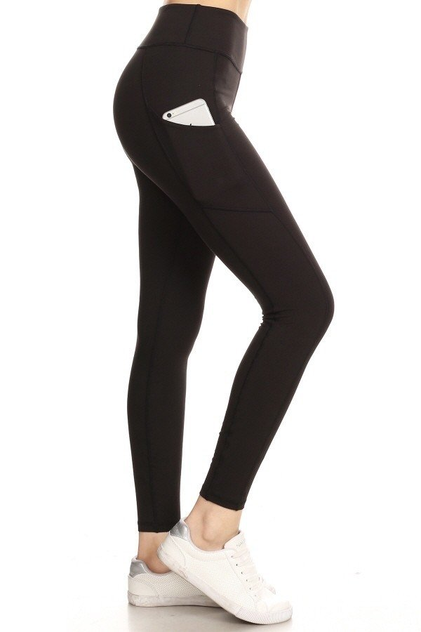 Premium Yoga Activewear Black Leggings - Side Pockets 1