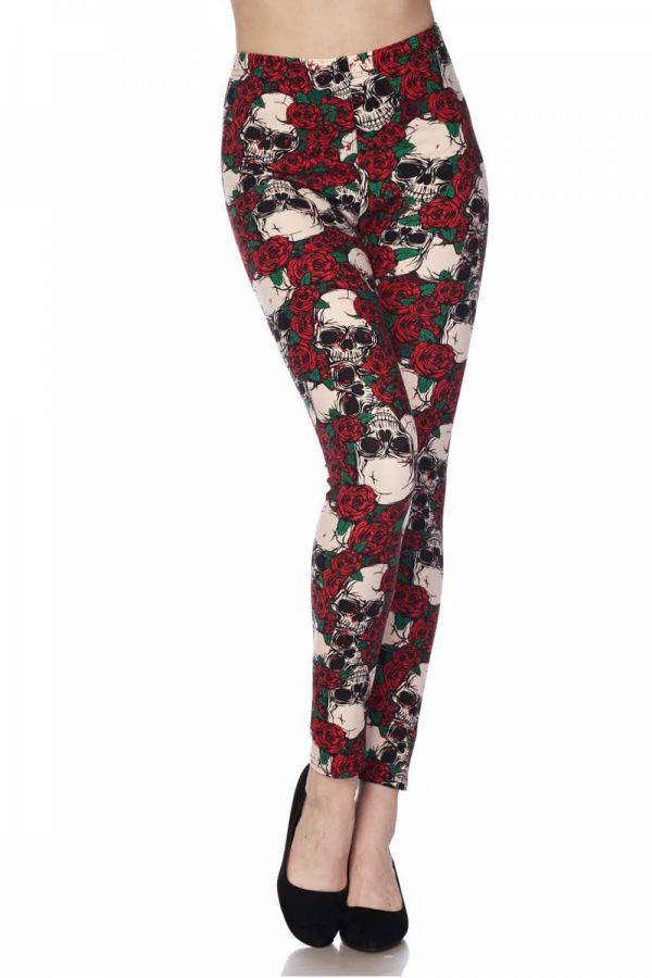 Red Rose Skull Print Leggings 2