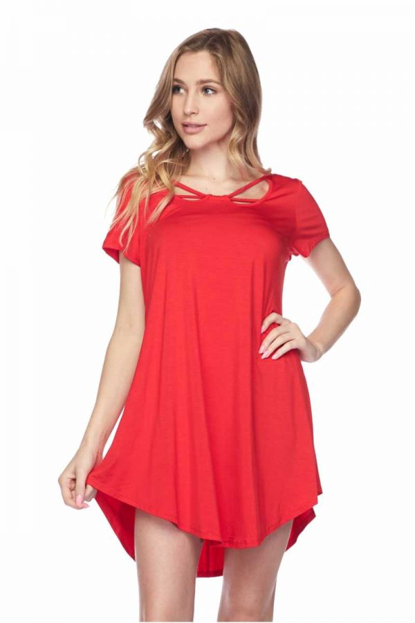 Red Solid Round Hem Dress Tunic Top 1
