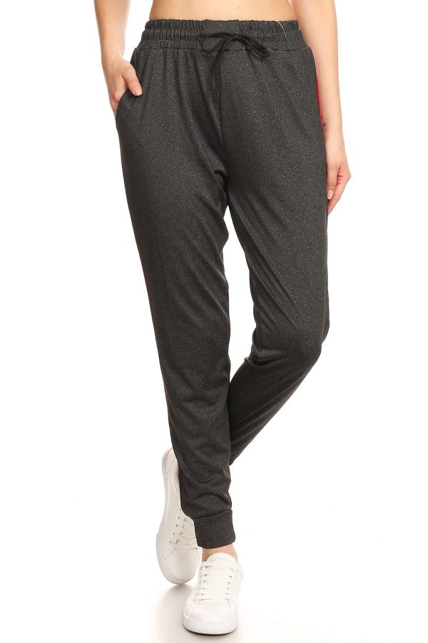 Solid Dark Grey Side Stripe Joggers Sweatpants 3