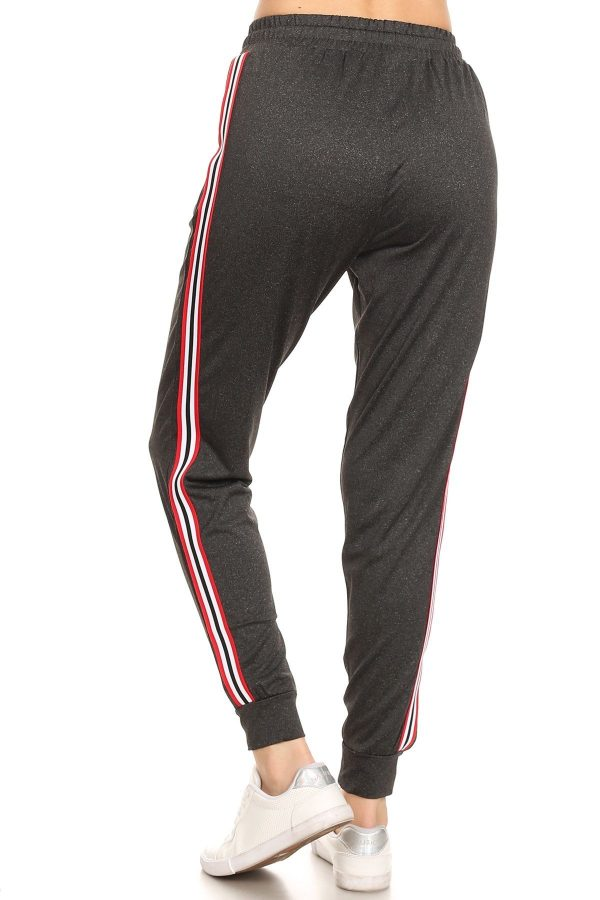 Solid Dark Grey Side Stripe Joggers Sweatpants 2