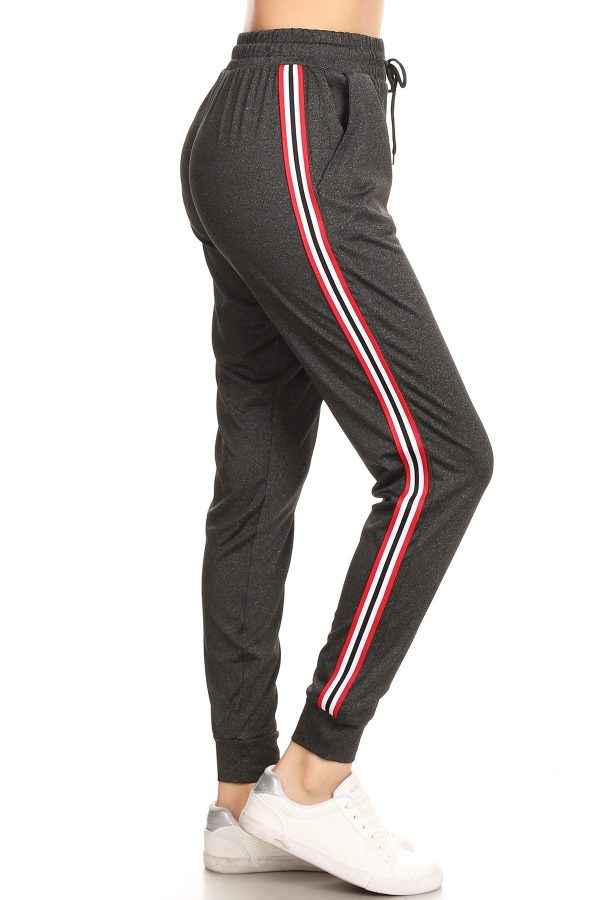 Solid Dark Grey Side Stripe Joggers Sweatpants 1