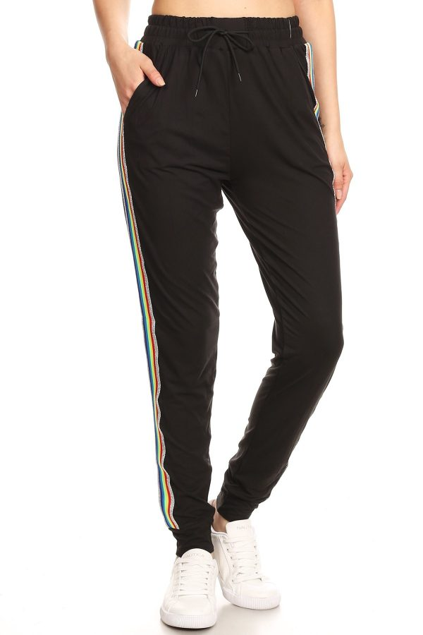 Solid Jet Black Side Stripe Joggers Sweatpants 3