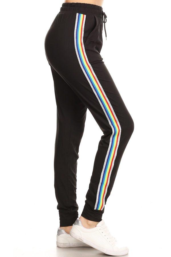 Solid Jet Black Side Stripe Joggers Sweatpants 1