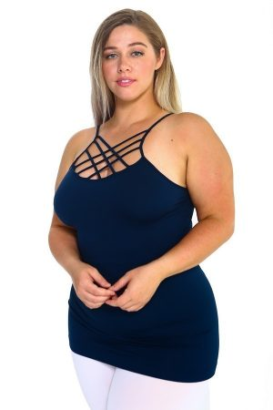 Solid Navy Color Sexy Cami Top 4