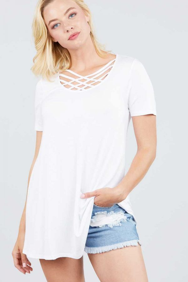 Solid Off White Strappy Neck Short Sleeve Tunic Top 1