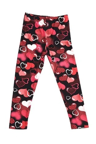 Valentine Hearts Print Kids Leggings 1