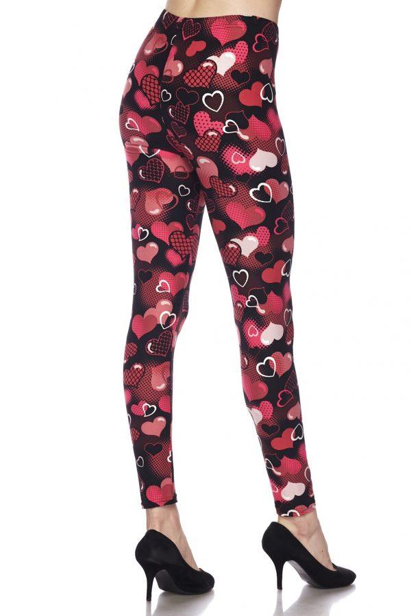 Valentine Hearts Print Leggings 3