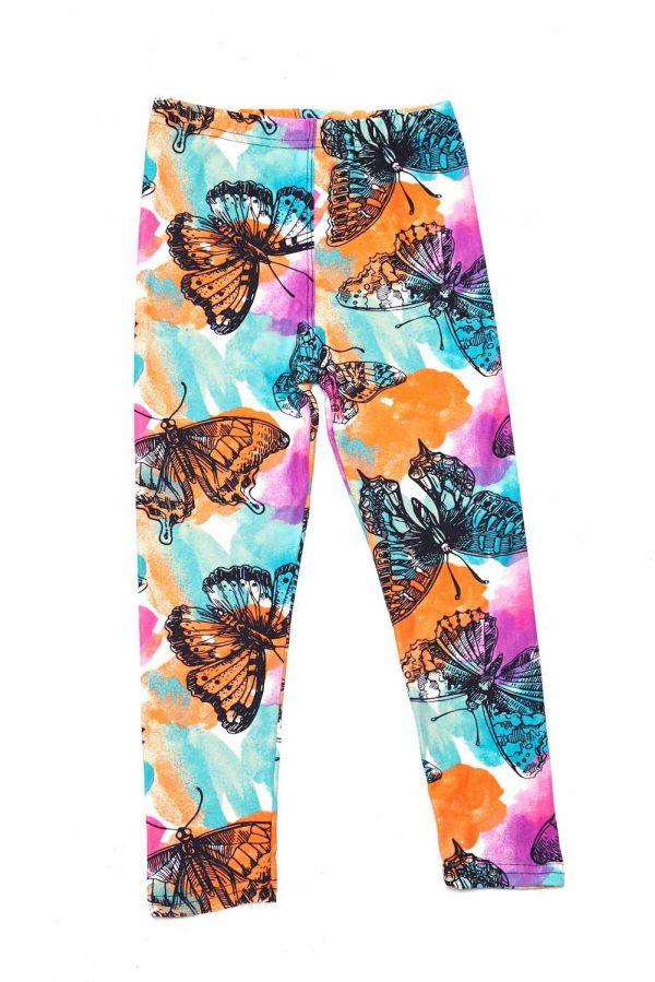 Watercolor Butterfly Print Kids Leggings 1