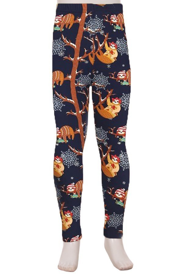 Winter Sloths Print Kids Leggings 1
