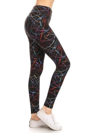 Yoga Band Banded Lined Scribble Printed Leggings 6