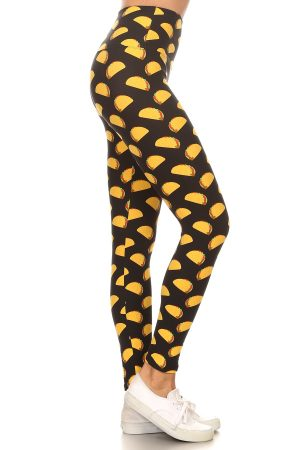 Yoga Band Banded Lined Tacos Printed Knit Legging 2