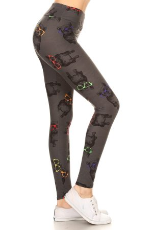 Yoga Band Hipster Pug Print Legging 4