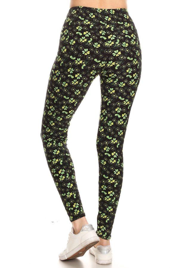 Yoga Band Allover Clover Print Leggings 3