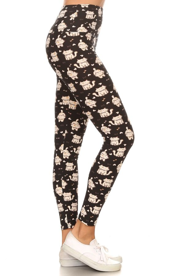 Yoga Band Cats Print Leggings 1
