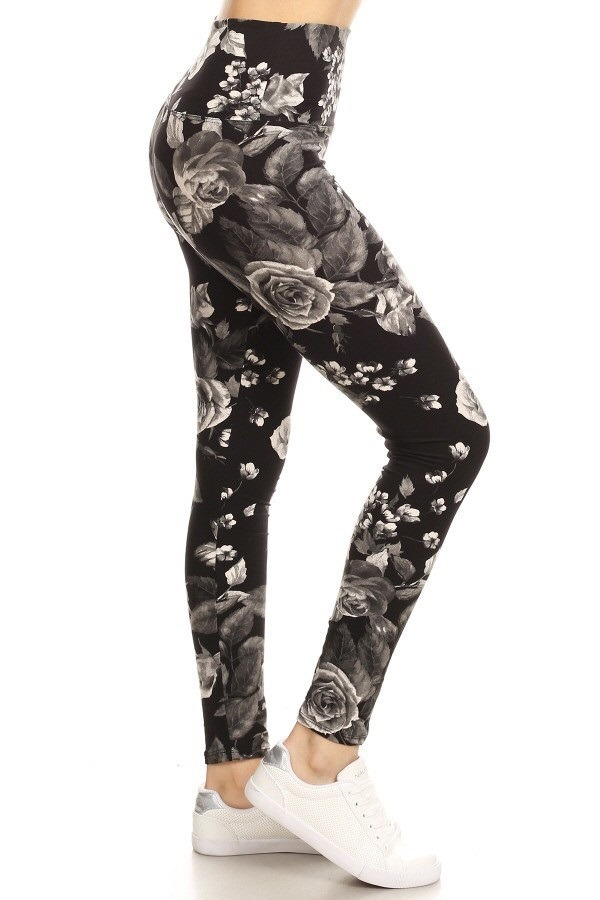 Yoga Band Floral Print Leggings 1
