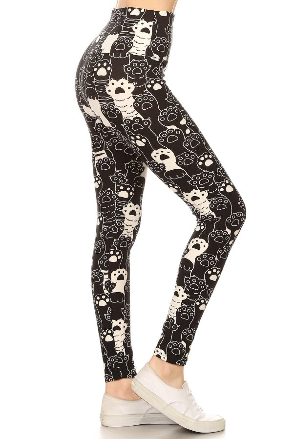 Yoga Band Multicolor Paws Print Leggings 1