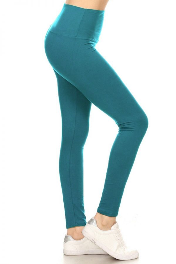 Yoga Band Solid Teal Color Print Leggings 1