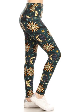 Yoga Band Sun & Moon Print Leggings 4