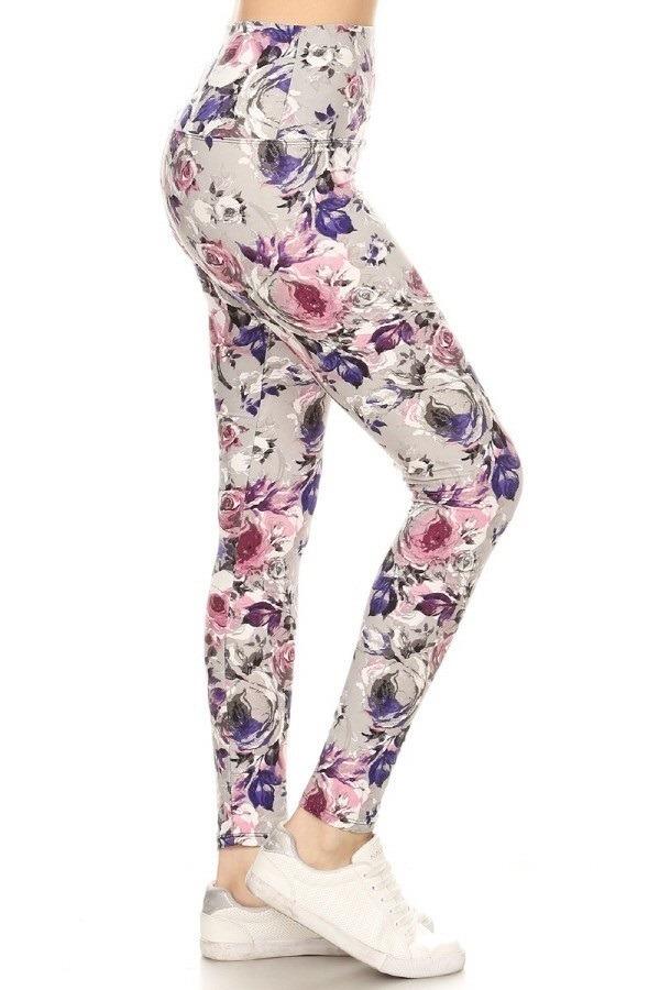 Yoga Band Banded Lined Floral Print Leggings 1