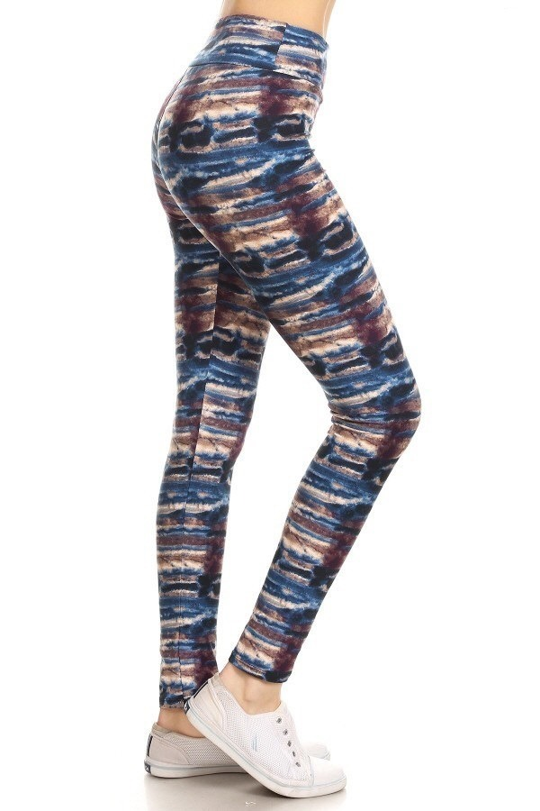 Yoga Band Banded Lined Tie Dye Print Leggings 1