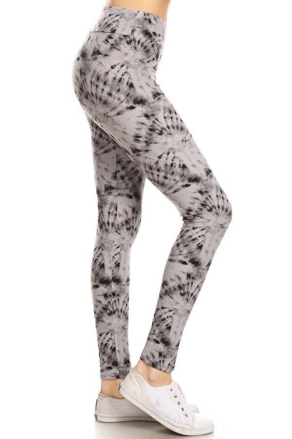 Yoga Band Banded Lined Tie Dye Print Leggings 1