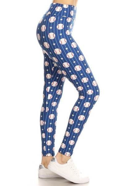 Yoga Band Baseball Print Leggings 1