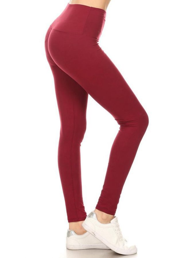 Yoga Band Wine Color Solid Ankle Leggings 1