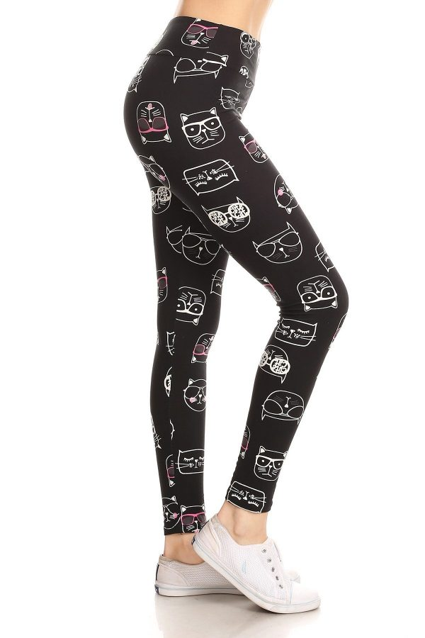 Yoga Band Cool Cats Print Leggings 1