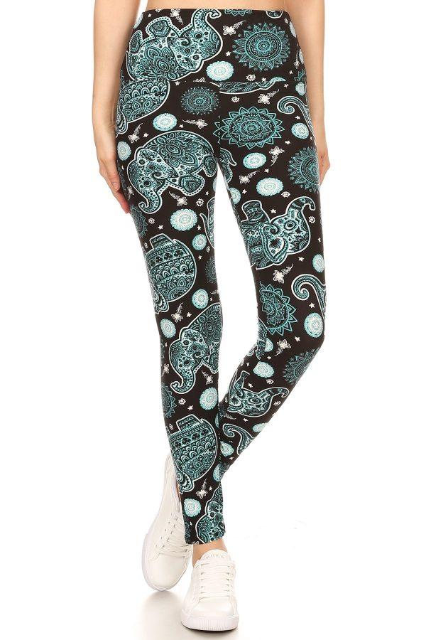 Yoga Band Elephants Print Leggings 2