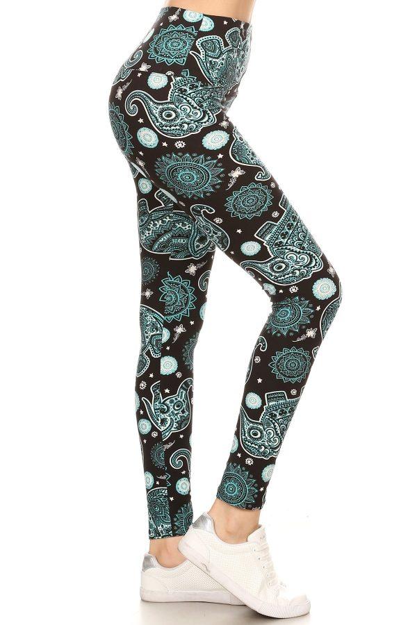 Yoga Band Elephants Print Leggings 1